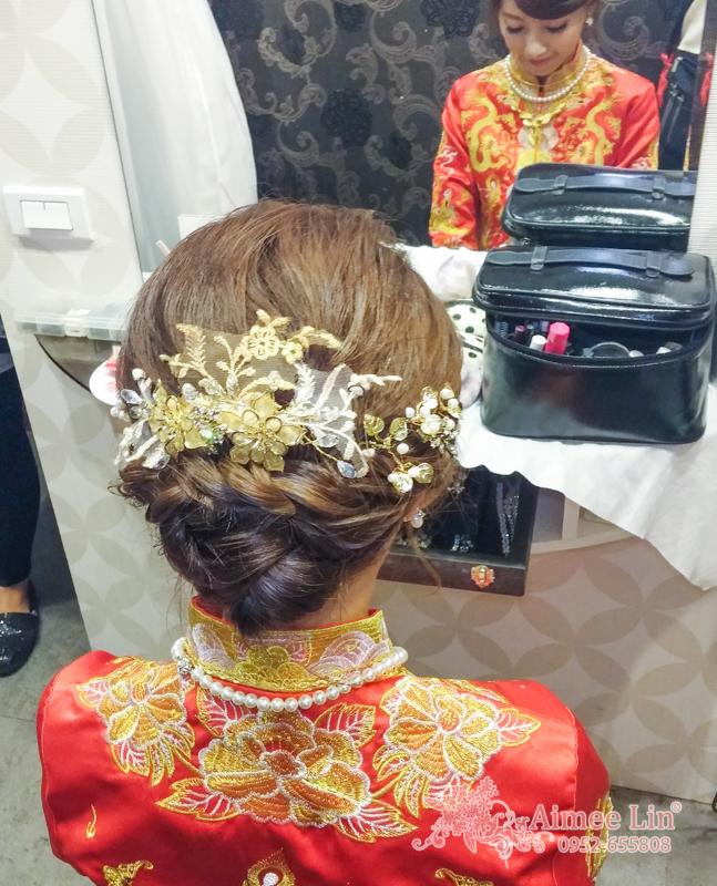 龍鳳袍 (裙掛) ,氣質編髮,上台造型,魚兒,基隆全家福海鮮餐廳(編號:419536) - 新秘愛咪Aimee Makeup《結婚吧》