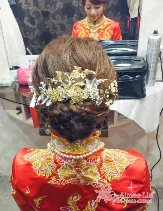龍鳳袍 (裙掛) ,氣質編髮,上台造型,魚兒,基隆全家福海鮮餐廳(編號:419543) - 新秘愛咪Aimee Makeup《結婚吧》