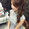 明星臉新娘~銀灰蕾絲,立領包袖,澎裙_時尚名媛微捲_魚兒(編號:419673)