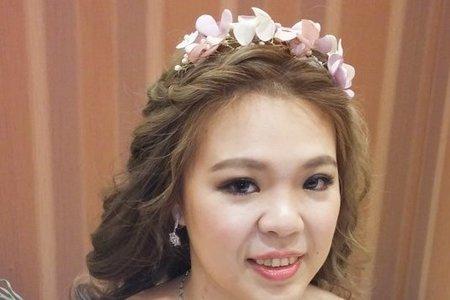淡橘紗禮服,編髮公主,可可,台北臻愛婚宴會館