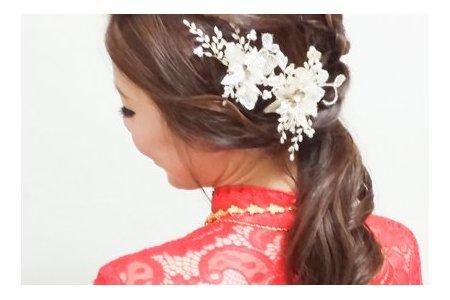 紅蕾絲旗袍,低盤氣質馬尾,意珊,基隆自宅