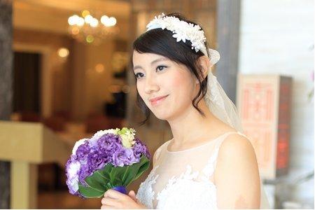 清新短髮新娘白紗造型