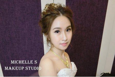 Michelle S 新莊囍宴。花仙子拉絲高包頭。氣質低馬尾。優雅中低盤髮