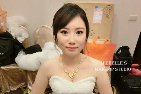 Michelle S 新莊囍宴。氣質低盤髮。甜美編髮。高雅低馬尾