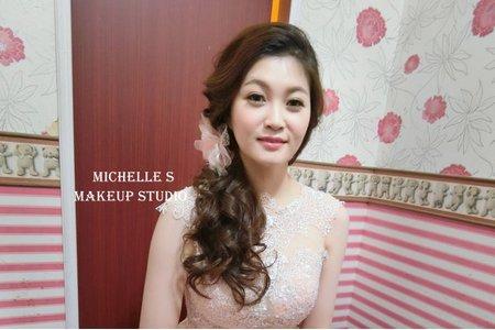 Michelle S 新莊囍宴。甜美高包。甜美側捲。氣質低馬尾