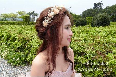 Michelle S 自助婚紗。花仙子半頭編髮+大方盤髮+氣質年輕中包頭