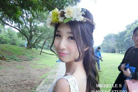 Michelle S 自助婚紗。半頭編髮花仙子+韓式乾淨高包頭+韓式大方低包