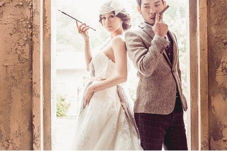 英式復古時尚皮草風格-桔子&蝴蝶婚紗攝影