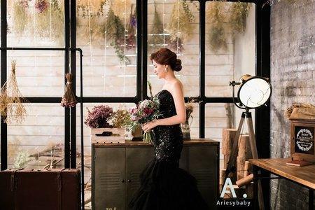 個性時尚風黑色亮片魚尾晚禮服