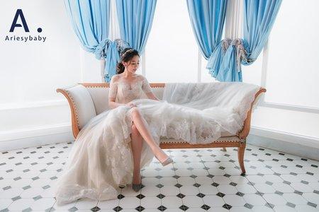 浪漫滾邊蕾絲白紗