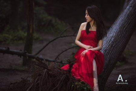 素雅俐落款紅色晚禮服