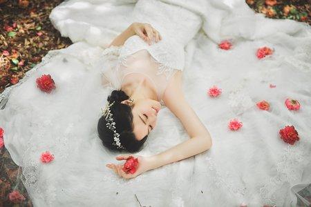 小華麗刺繡蕾絲魚尾白紗