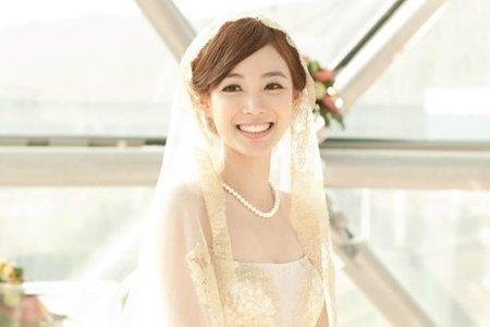 羽涵 韓風素雅 蕾絲長頭紗 復古髮型 浪漫側邊髮