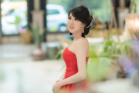 新娘-六貓~紅色禮服優雅造型~jojo chen makeup