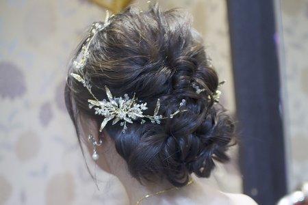 浪漫長捲髮  乾燥花花圈 新娘Eunice