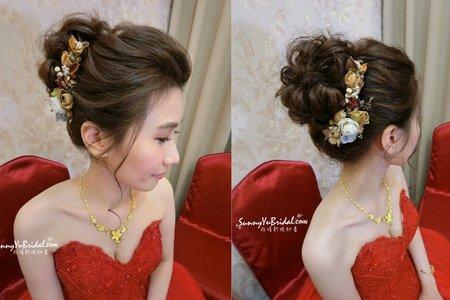 文定|紅色禮服高盤髮搭配乾燥花
