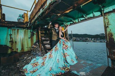 【婚紗】唯美室內 冷調個性 暗色廢墟風