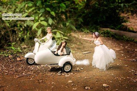 3人閨密婚紗照