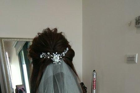 浪漫長髮白紗