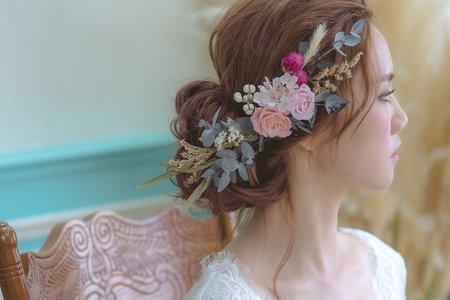 日系新娘髮型-乾燥不凋花