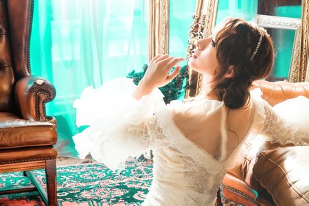 😍復古婚紗 側邊包頭