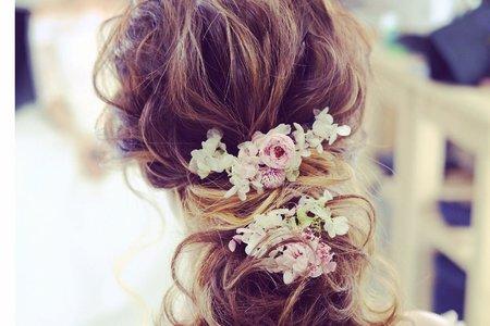 花與編髮~鑽花飾,乾燥花與鮮花造型