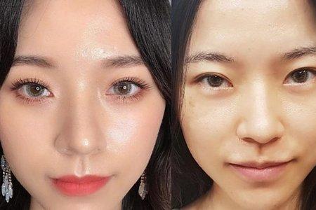 妝前妝後的改變