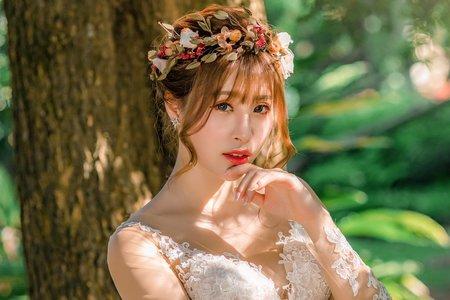 森林系編髮x花環-噴槍底妝