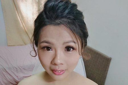 白紗編髮甜美造型107/5/24的新娘子