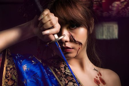 刀疤創意花魁造型 Knife creative hibiscus modeling
