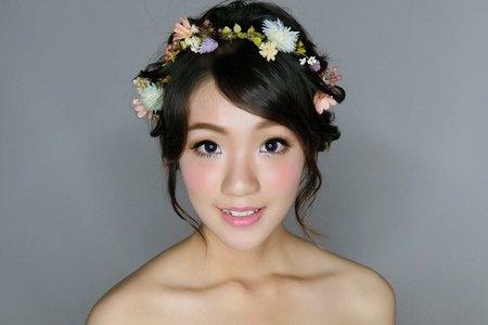 短髮新娘乾燥花