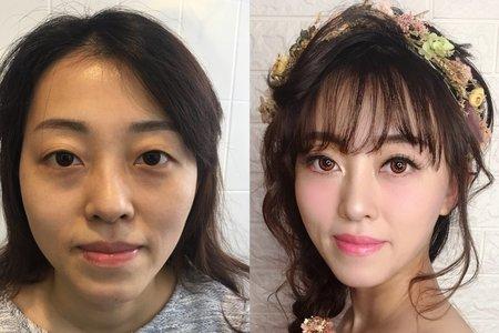甜美側邊新娘造型/噴槍彩妝/台北桃園宜蘭新秘