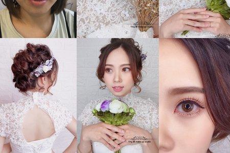精緻眼妝/短髮新娘甜美造型/Ting婷make up/桃園/台北/宜蘭新秘
