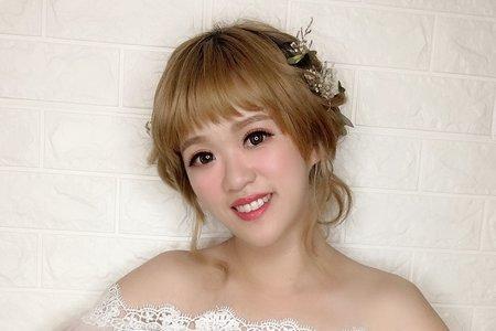 短髮新娘日系盤造型/Ting 婷 make up