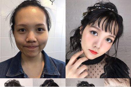 素人改造/黑髮盤髮造型