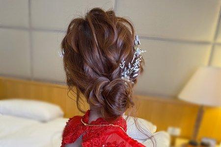 紅色禮服新娘造型/台北/桃園/宜蘭新秘
