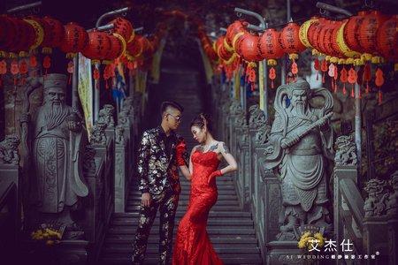 中式婚紗 古風建築 艾杰仕婚紗