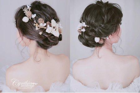 黑髮盤髮 / 及肩短髮  / 編髮盤髮 / 乾燥花