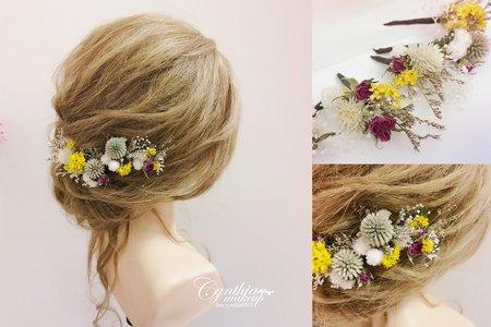 乾燥玫瑰花髮插/浪漫鬆鬆盤髮