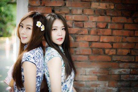 青花瓷旗袍姐妹