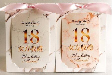 客製大理石雙色婚禮桌卡