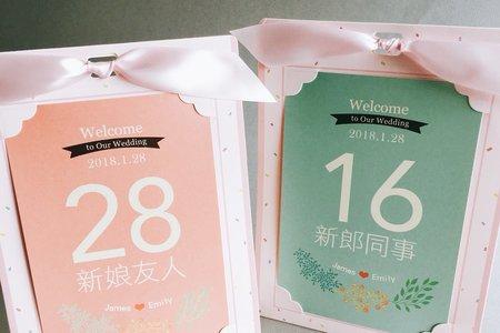 客製粉嫩雙色婚禮桌卡