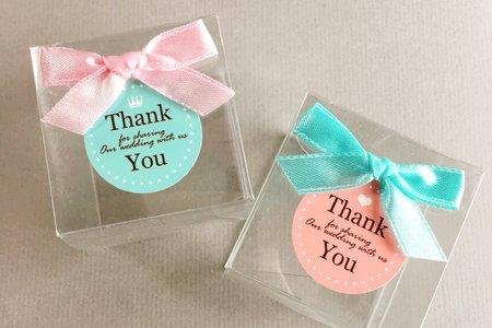 透明粉嫩雙色緞帶婚禮喜糖盒