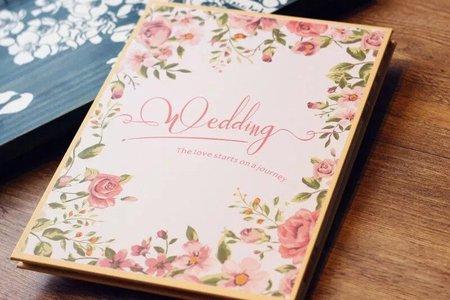 粉色玫瑰婚禮簽名本禮金簿