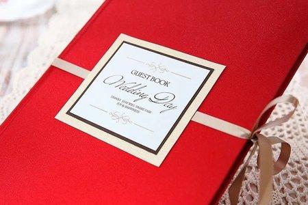 西式紅色婚禮禮金簿簽到本
