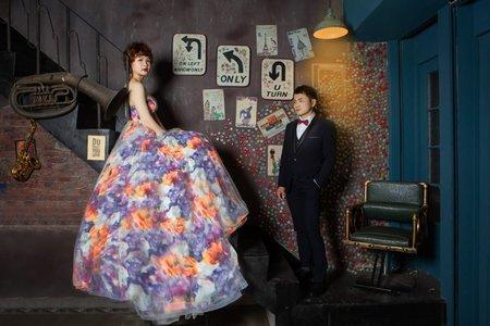 歐美碎花婚紗造型仙仙造型台北巷仔內棚拍婚紗