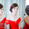 文訂氣質代表-訂婚髮型-紅色禮服