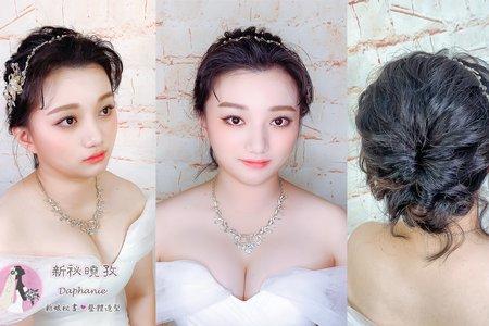黑髮新娘短髮白紗造型(小妡)