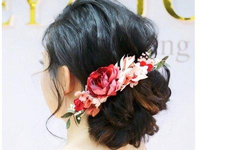 送客盤髮造型+Amy手作乾燥花飾品