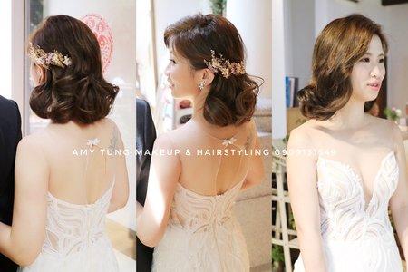 浪漫短髮造型+AMY手作乾燥花飾品